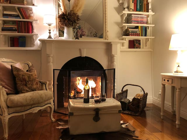Cosy open fireplace