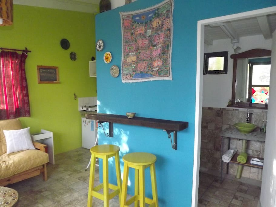 Salon de estar, kitchentte y baño con ducha