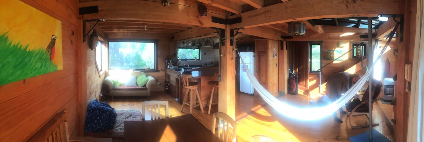 Cabin-loft in the prairie&forest within a 28 acres preserve with trails and wetlands.