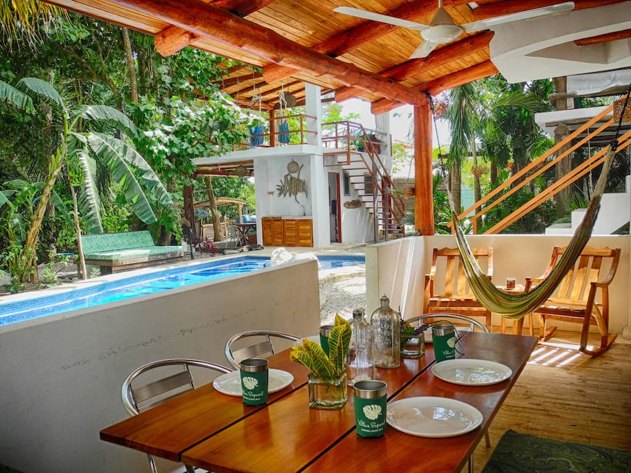Poolside dining and monkey viewing at Villa Jardin.