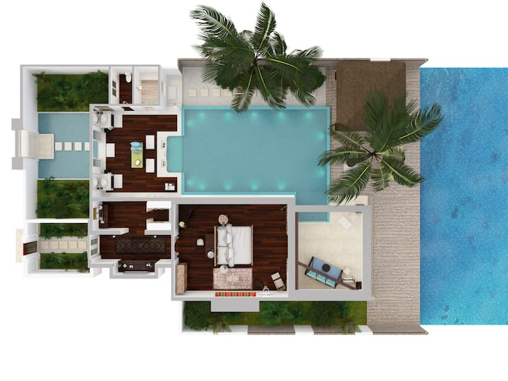 Ocean Pool House · Breakfast, Dinner and Transfers · Naladhu Private Island