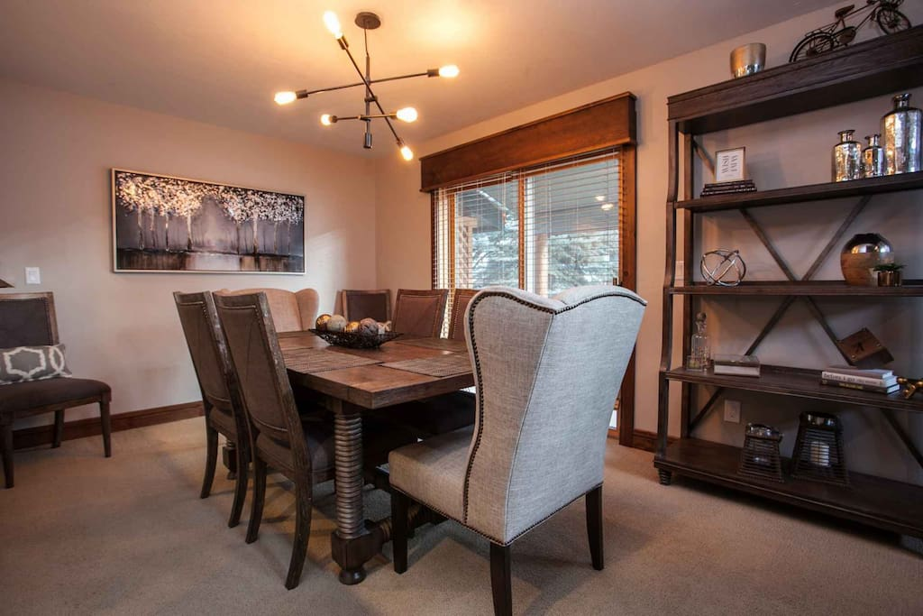 Dining room, seating for 6-8, access to patio with gas grill.