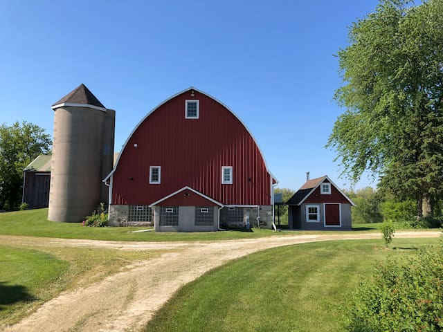 Big Red Barn with a basketball court