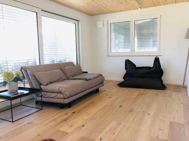 Wohnzimmer / Schlafzimmer 2 mit komfortablem Schlafsofa ( mit Lattenrost, 200x160)