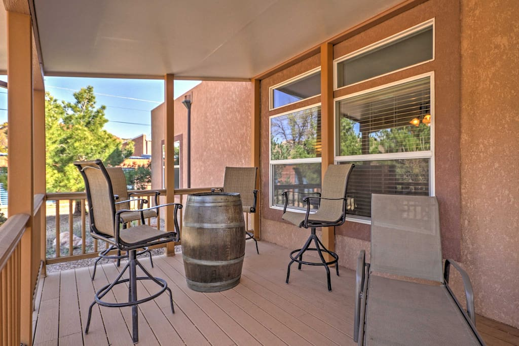 Enjoy lounging outside on the covered patio and enjoy homemade meals or a morning cup of coffee or tea.
