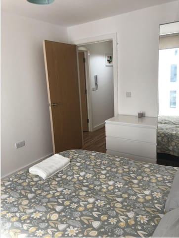 Double bedroom with Wardrobe and drawers. Spacious with extra storage space