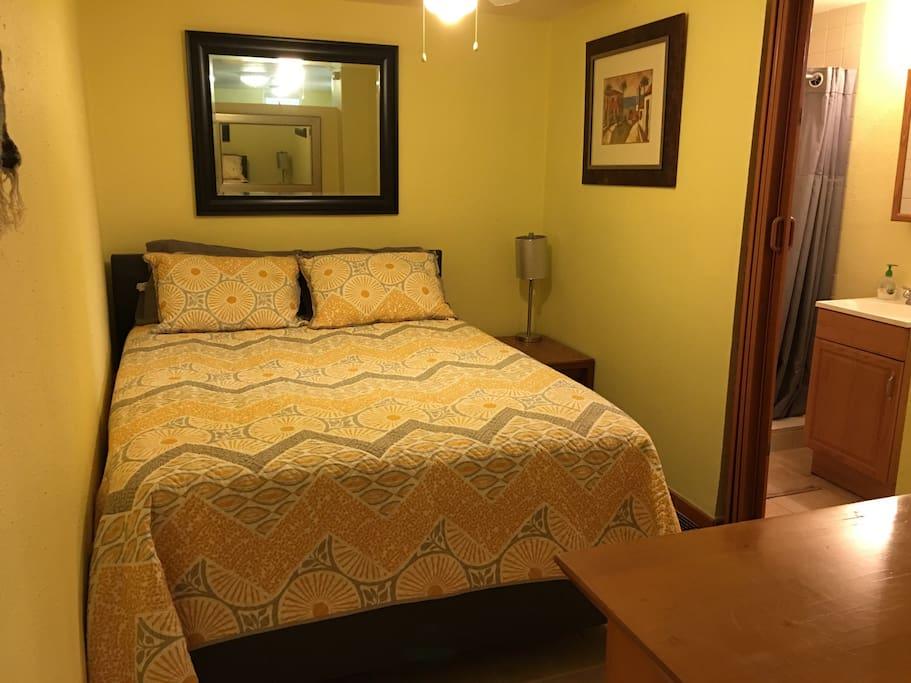 Cozy bedroom with ensuite bathroom