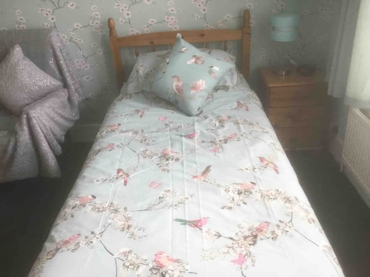 Double size room with single bed in spacious house
