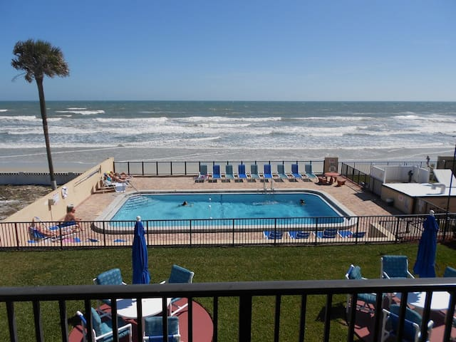Heated pool overlooking the beach. Ample lounging furniture.
