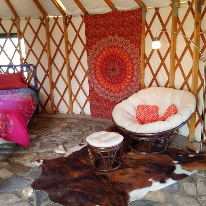 Inside the Yurt. Great nook for reading or napping.