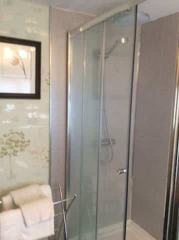 Large shower with double shower head