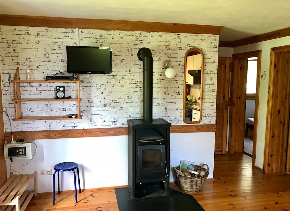 Wohnzimmer mit Holz-Kamin