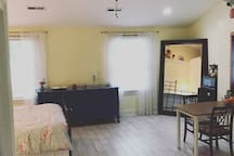 Large, cheerful private room; queen bed, full bath