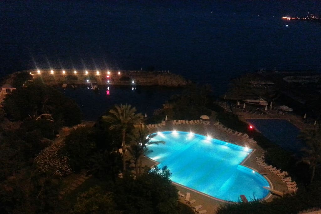 Outdoor pool by night