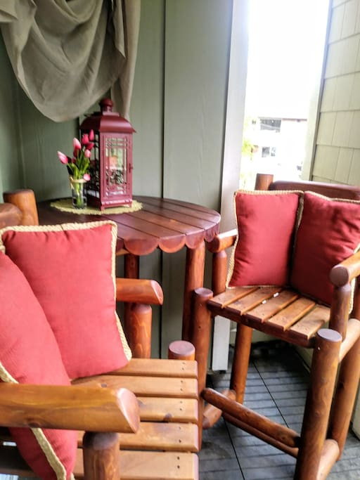 Deck Patio's Log Bistro Table with 2 Captain Chairs