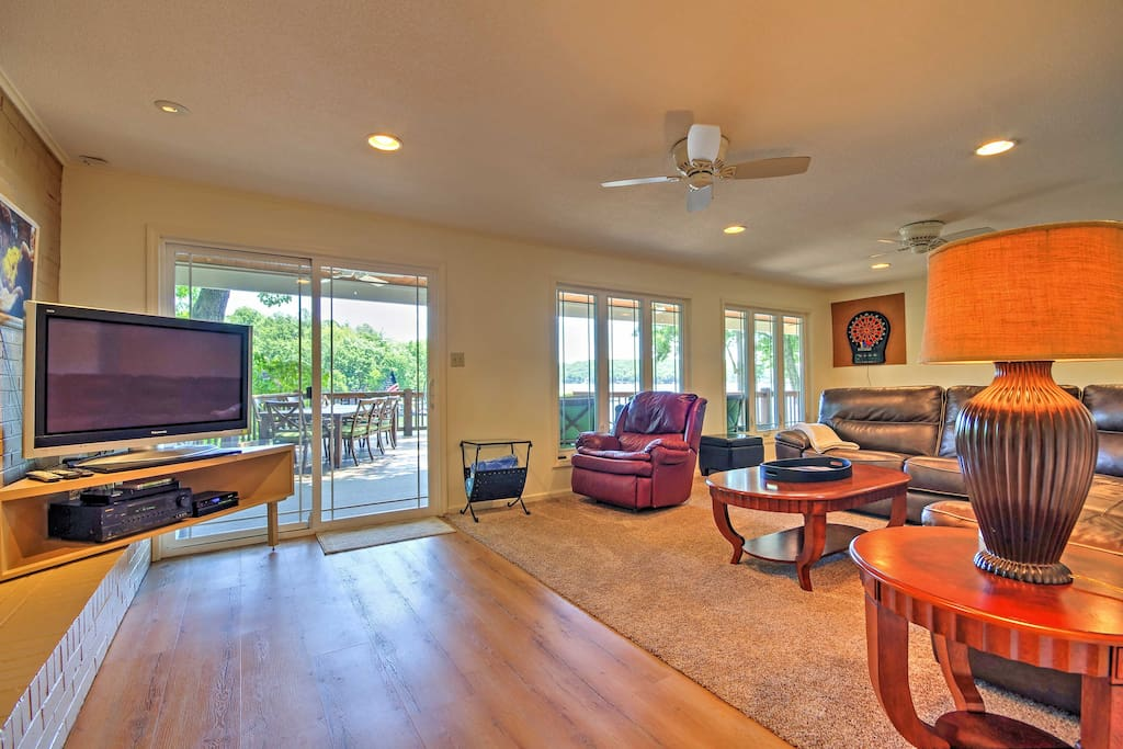 Kick back and relax on the comfortable furniture in the downstairs living room.