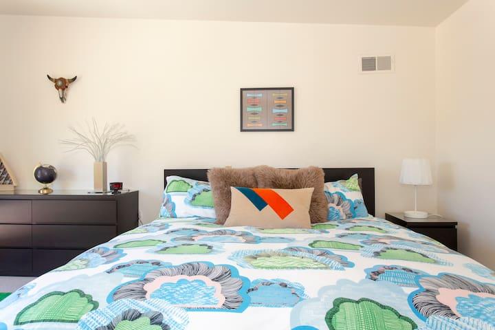 Comfy king bed.