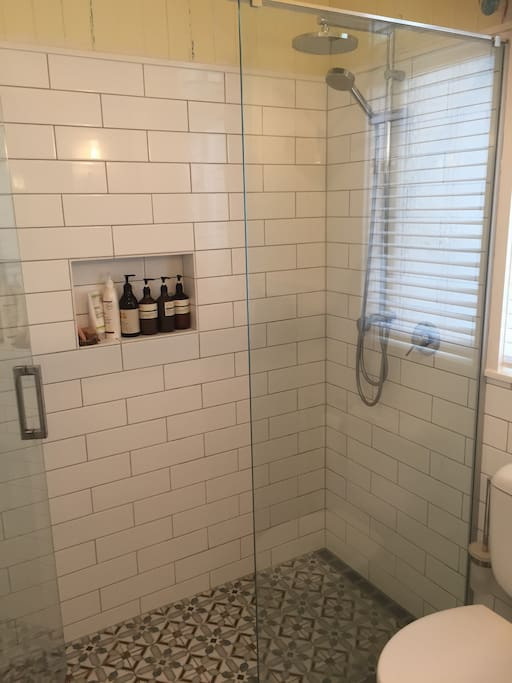 walk-in shower in the bathroom