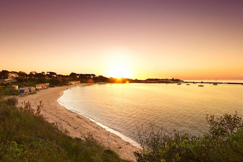 Fishermans Beach Sunset - 150metres walk away from the Mornington Beach Shack apartment