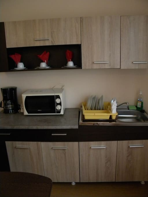 microwave, full dishes,coffee maker