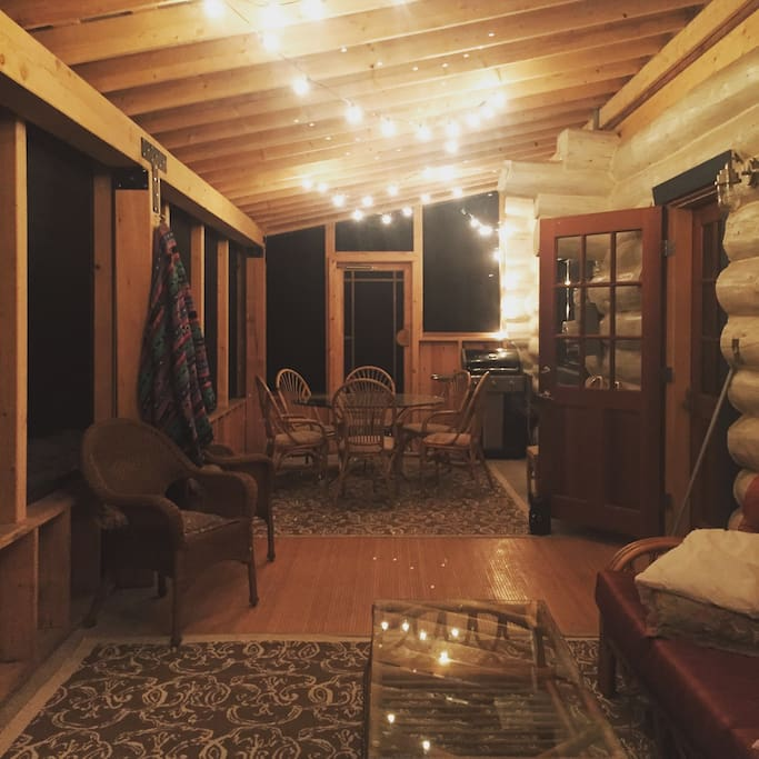 Screened in porch at night- we live outside in the summer!