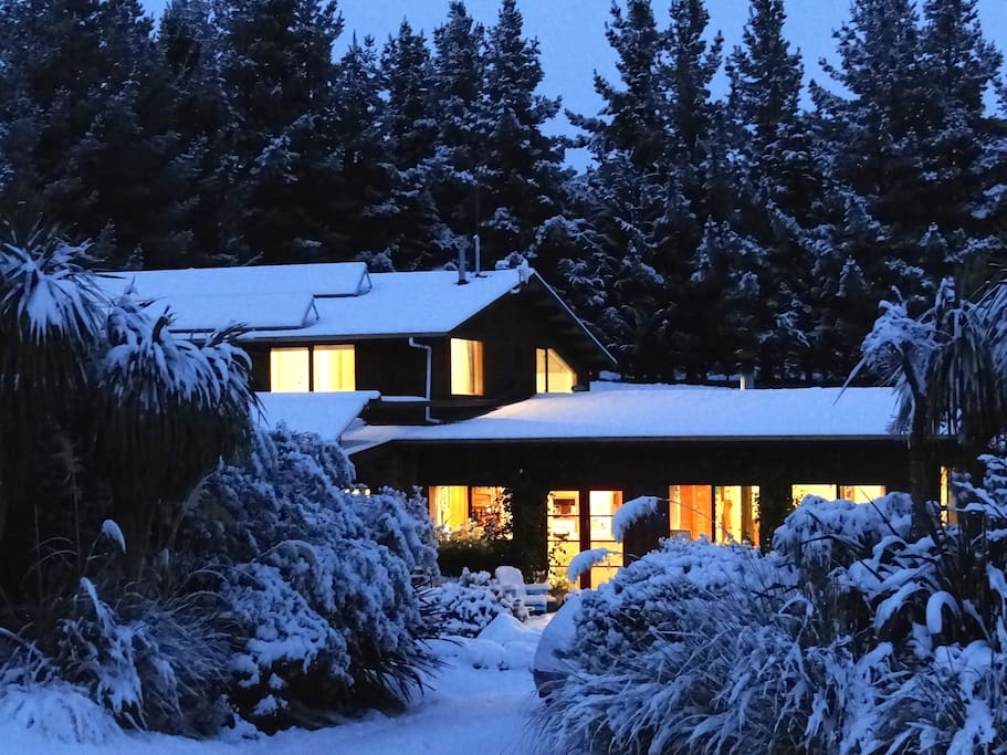 Winter magic - upstairs is the apartment with stunning mountain views.