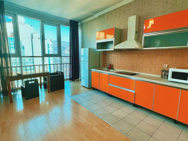 3-room apartment with mountain views in Almaty