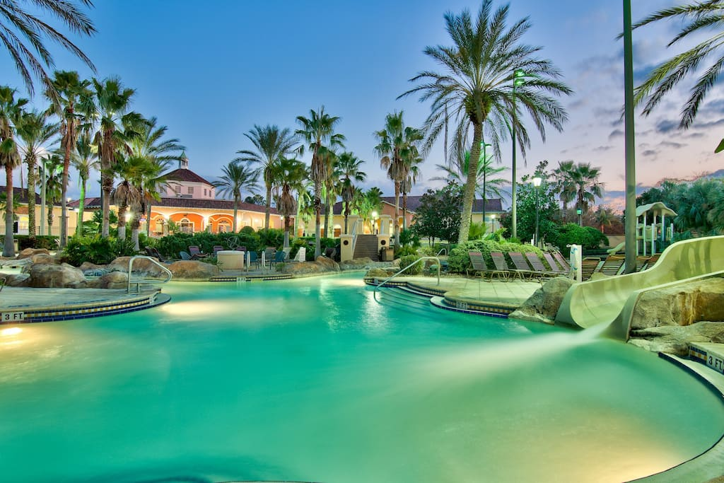 The villa is the closest 3 BR 3 bath to the pool! Finish your day here at our Orlando villa right by the pool! Just 2 doors from the pool, of 598 homes, steps to the pool, lazy river and water slide!