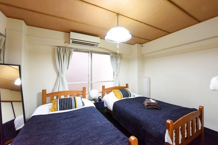 ♪新宿まで5分♪新宿御苑そばのお部屋、wifi完備、長期OK♪ベッド2つ♪