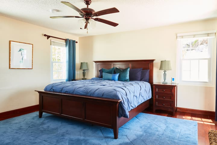Master: Upstairs Bedroom with King Bed and Private Balcony