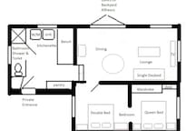 Floorplan of indoor areas of Pink Flamingo Beach Apartment - not to scale