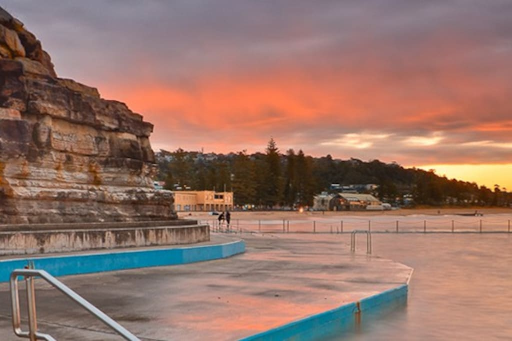 Collaroy beach swimming pool. A 5min walk down the beach from our doorstep.
