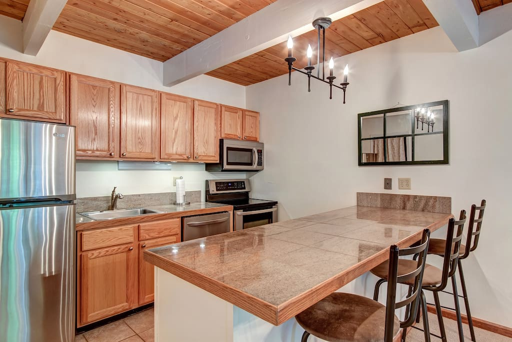Great kitchen with stainless steel LG appliances and granite countertops