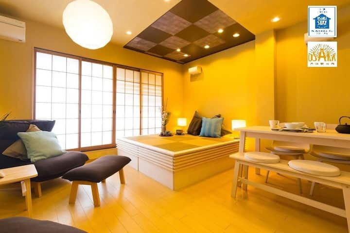 EasyAccess KIX&Namba/8 pax with 3BR /5min nrSTA