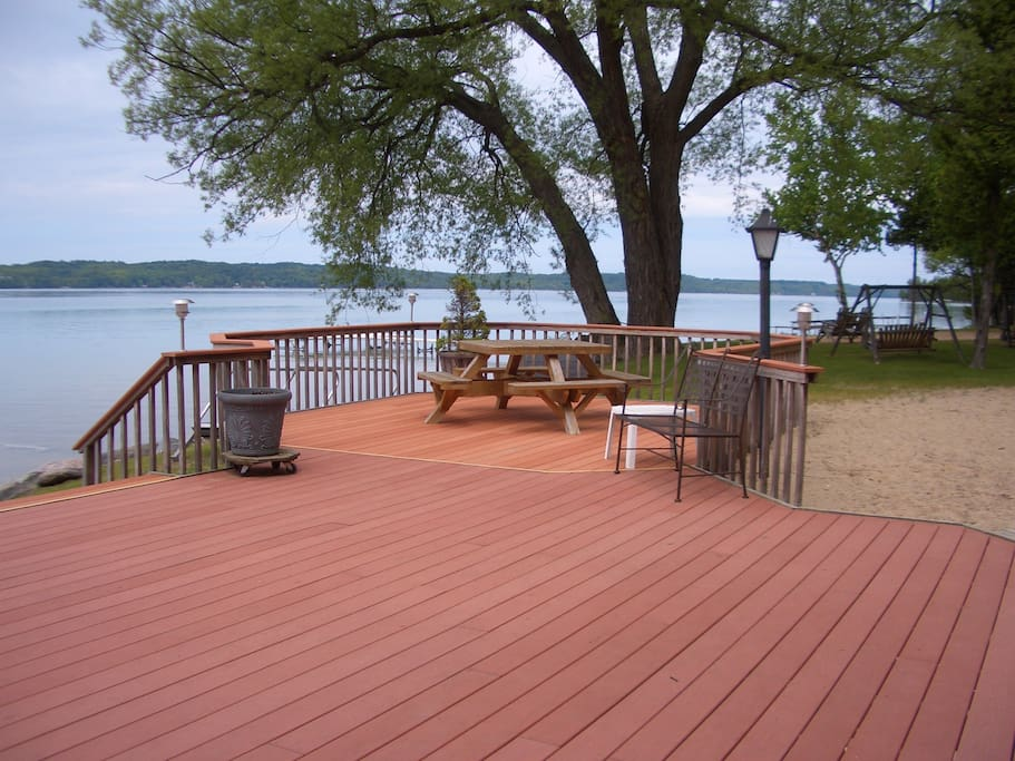 Our beautiful lakeside deck, for everyone to use.