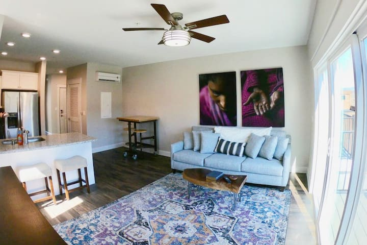 Our loft is located in the heart of downtown Lynchburg on the beautiful and lively Bluffwalk. Open Floor Plan with cozy seating and a spectacular view of the river front, mountains and downtown Lynchburg.