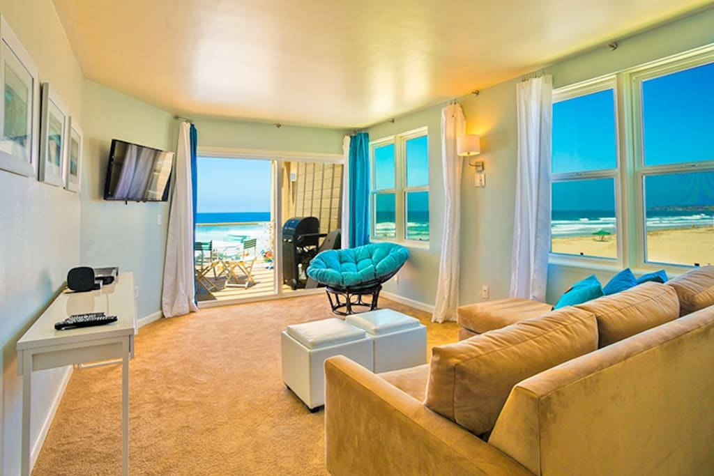 Lovely Oceanfront Pacific Beach condo with spectacular panoramic ocean and sunset views. Bar-b-que has been removed.