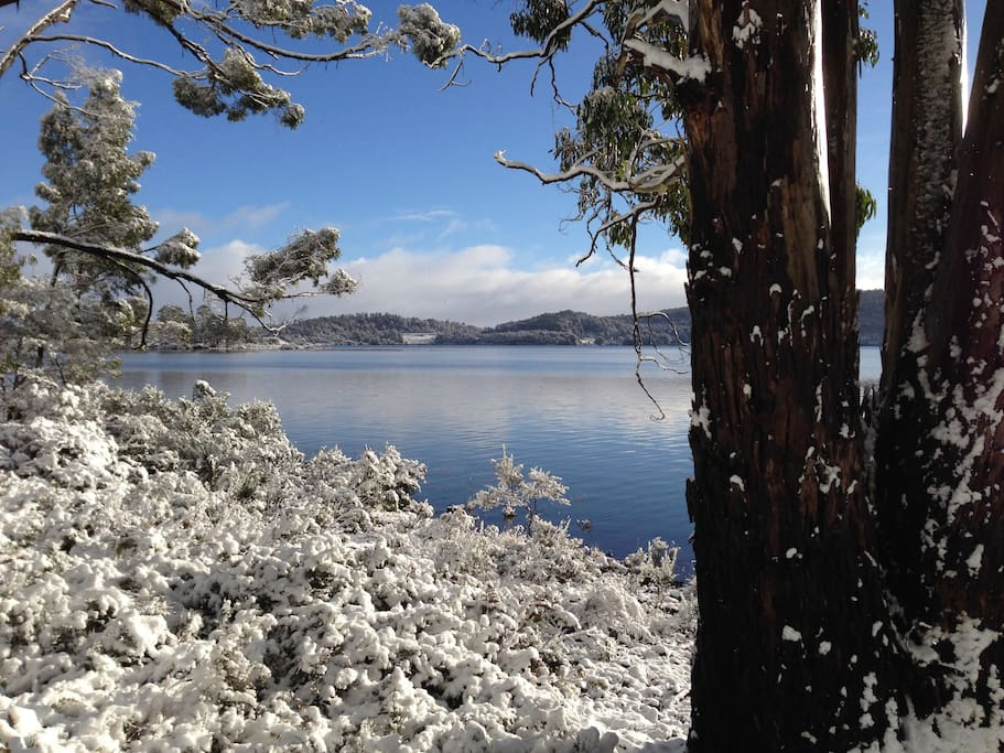 Snow and sunshine beside the lake