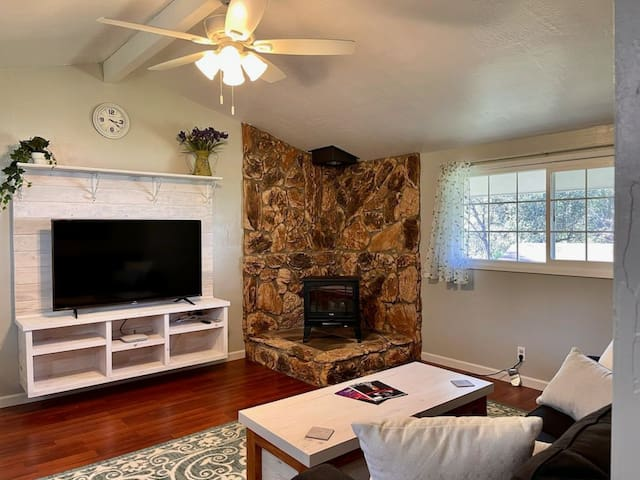 Family room with 55 inch smart TV.  Direct TV Stream (including local channels), Netflix, Hulu, HBO Max and Disney+ included.