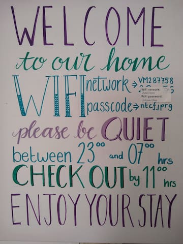 The welcome board.