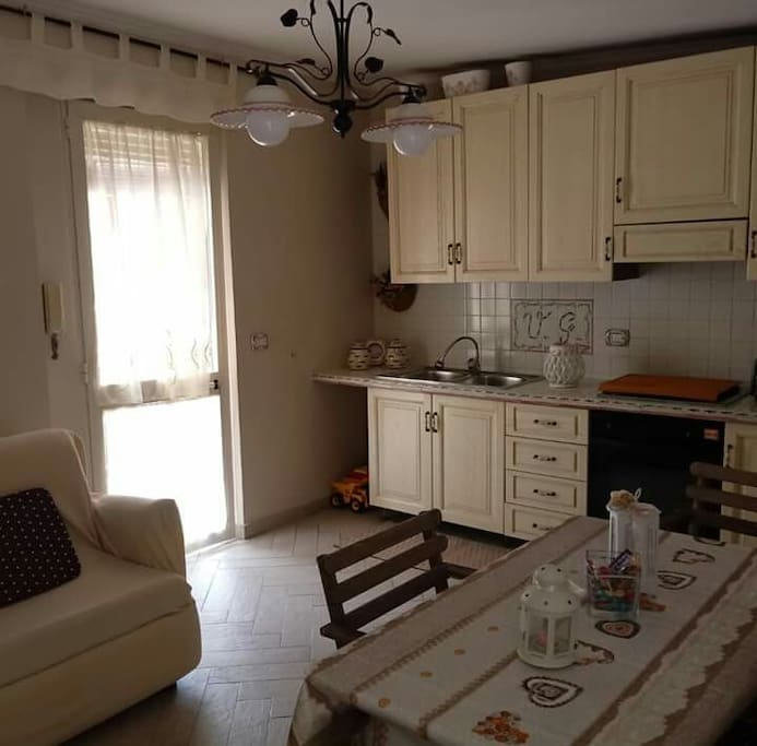 Kitchen with sofa bed, balcony  terrace, Electric fireplace and air conditioning