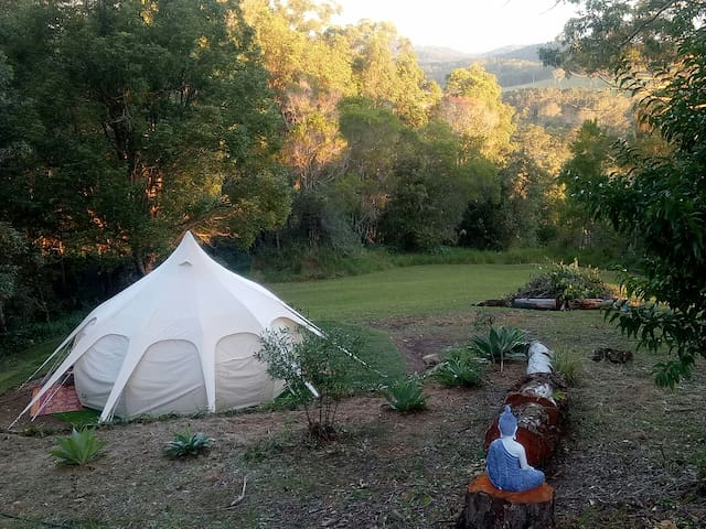Own private paddock with lotus bell tent, table, chairs, tree swing and fire pit