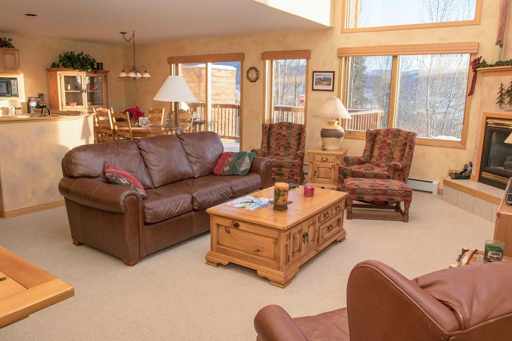 Great Room, with large deck and mountain views
