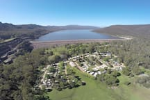 Glamping Bell Tents Located at Halls Gap Lakeside Tourist Park, right next to Lake Bellfield