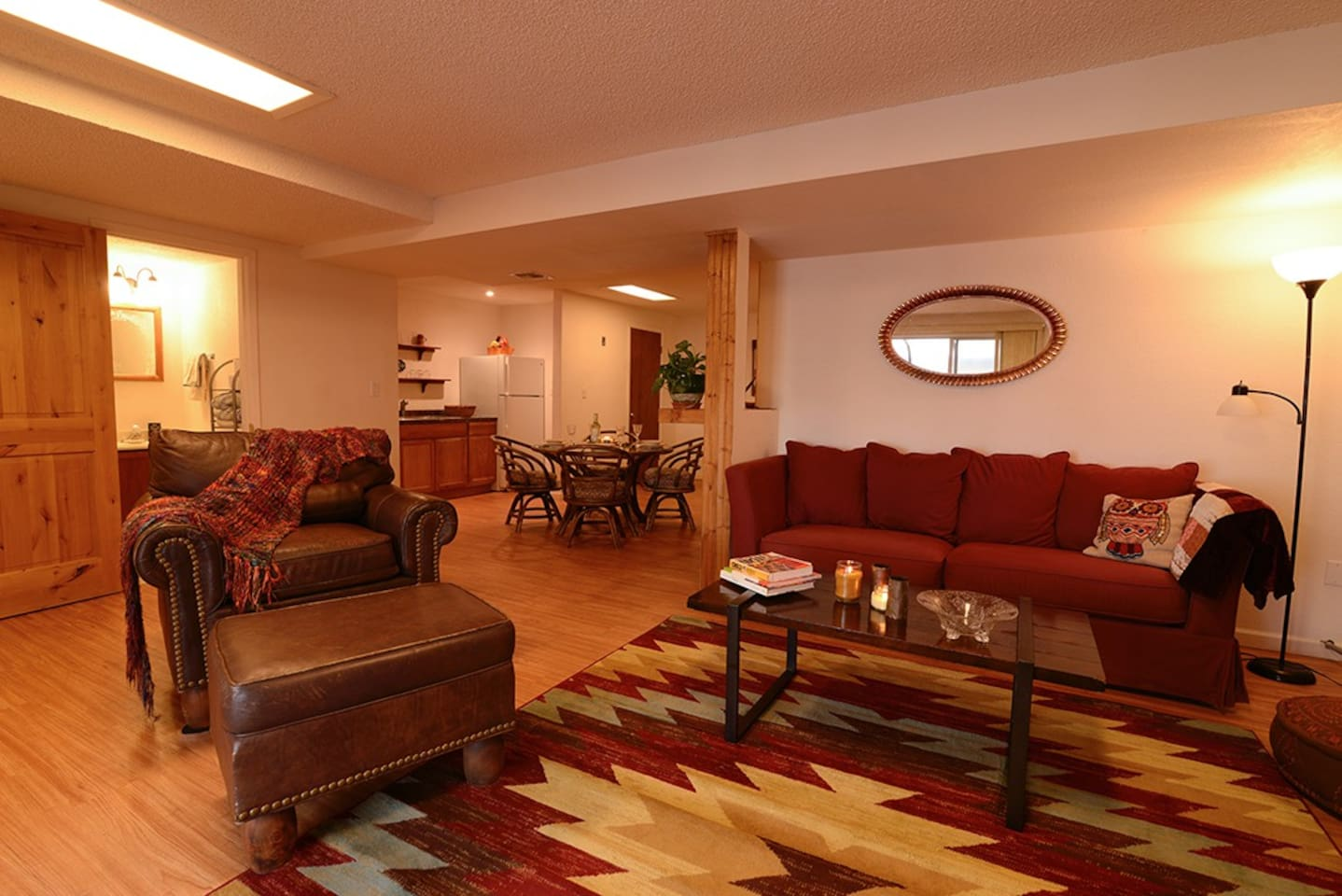 Comfy, spacious living area with queen sleeper sofa