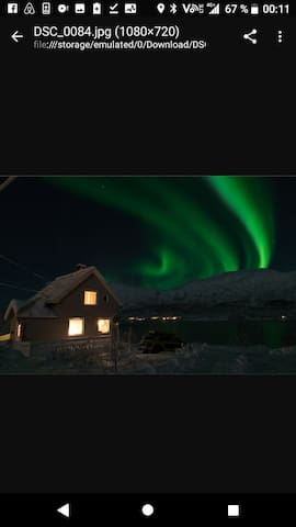 The cabin bathing in northern lights. The picture is taken from one of my guests. You are not guaranteed to see northern lights, but it is an excellent place to see it!