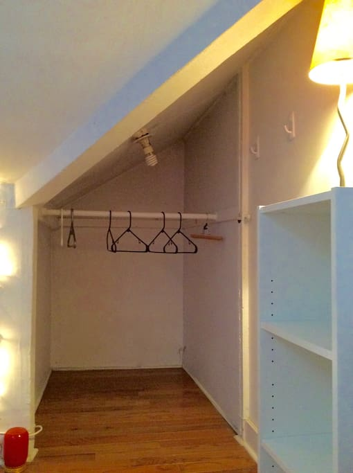 Open closet with storage space.  3.5 feet by 4 feet closet space.