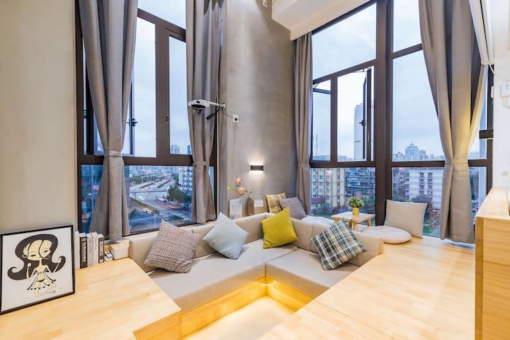 「壹加民宿」太古里、春熙路、九眼桥、地铁站旁loft浴缸二居室公寓