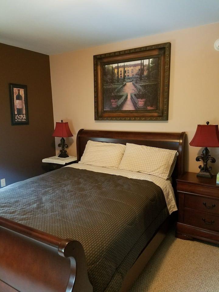 Cozy halfway retreat.  Spacious beautiful room.