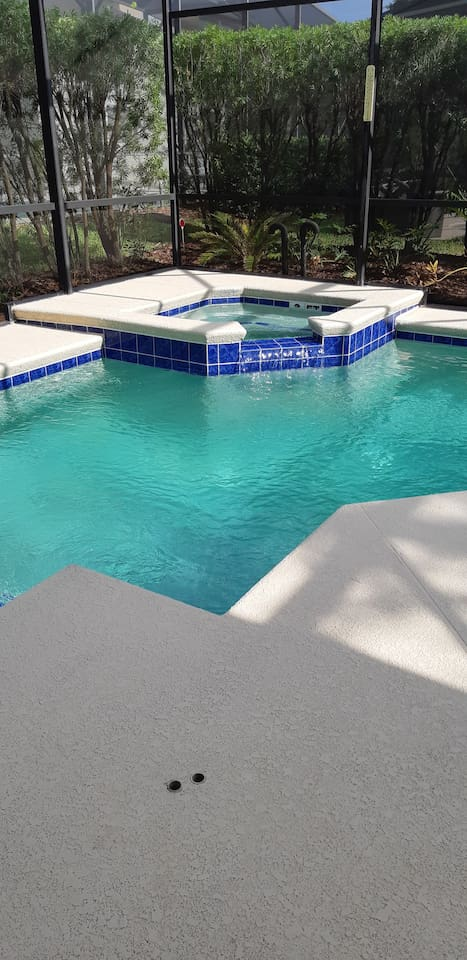 Sparkling Clean Heated Pool and Spa to 104 degrees.